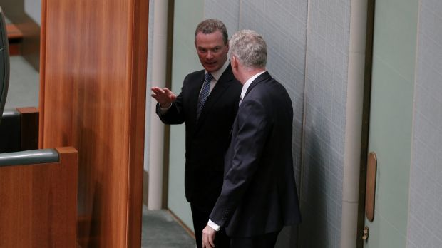 Leader of the house Christopher Pyne and manager of opposition business Tony Burke in the parliamentary chamber earlier ...
