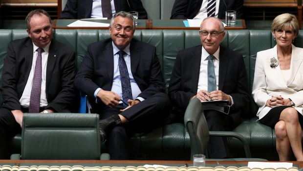 Treasurer Joe Hockey is praised by Prime Minister Tony Abbott during Question Time on Monday.