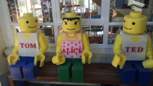 """Alice"" the Lego statue back in her rightful spot after she was stolen from a Turner home late last week."