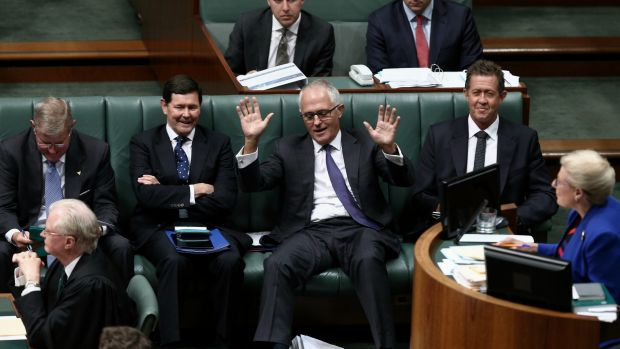 Communications Minister Malcolm Turnbull is asked why he is still on the frontbench in Question Time on Monday.