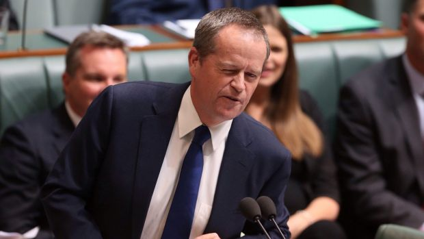 Opposition Leader Bill Shorten winks at Malcolm Turnbull in Question Time on Monday.