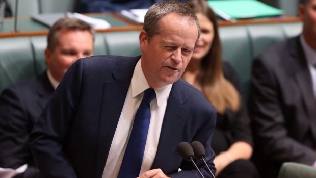 Opposition Leader Bill Shorten winks at Malcolm Turnbull while seeking to move a motion of no confidence in Prime ...