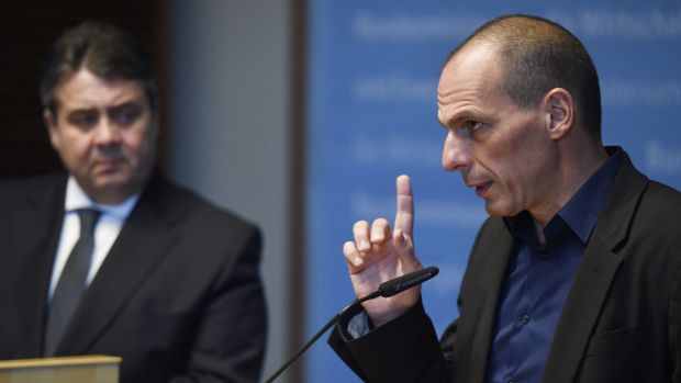 Nope: German minister of economic affairs Sigmar Gabriel, left, with Greece's new finance minister Yanis Varoufakis.