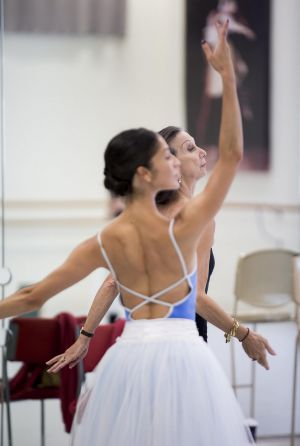"Robyn Hendricks (front) and Maina Gielgud rehearsing the role of Myrtha in ""Giselle""."