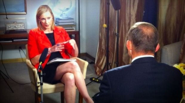 Leigh Sales questions Tony Abbott on the <i>7.30 Report</i>.
