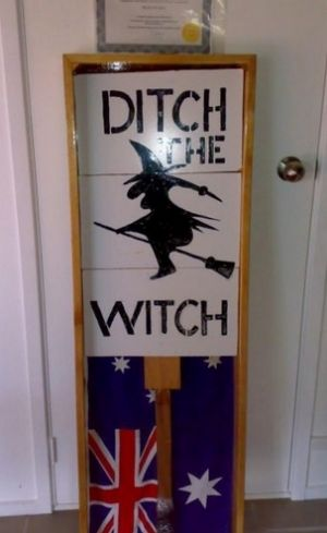 Potential buyers of the framed Ditch the Witch sign are being vetted.