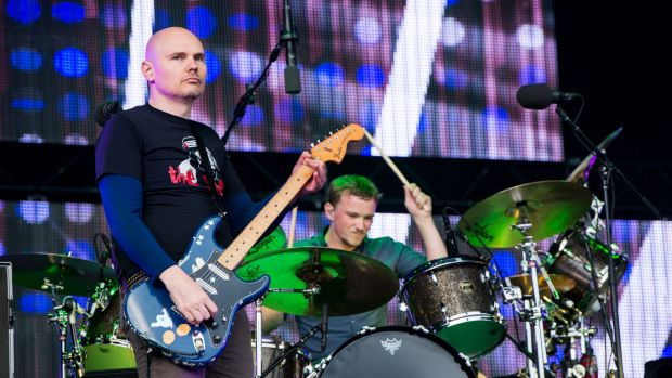 Not happy, AJ: The Smashing Pumpkins, with Billy Corgan at left, were still owed $1.2 million for the February 2015 ...