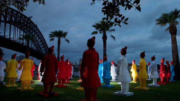 An installation of silk Terracotta Warriors are being assembled in position at Dawes Point ahead of Chinese New ...