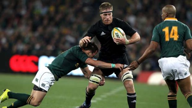 Brad Thorn playing for the All Blacks.