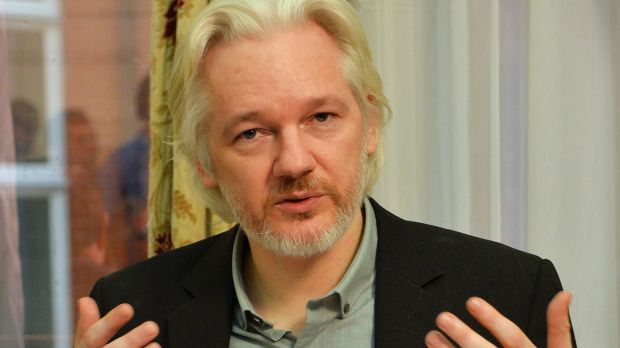Julian Assange at the Ecuadorian embassy in London in August.