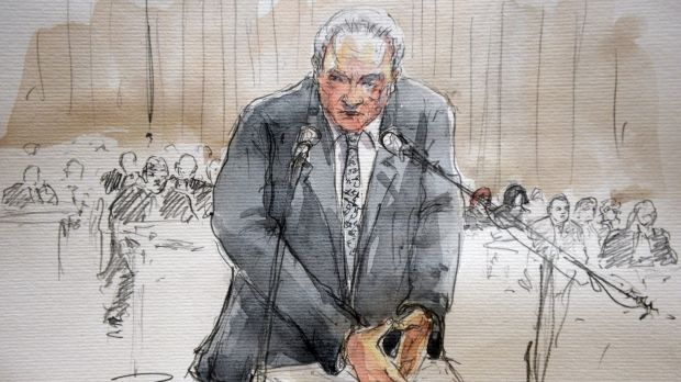 A courtroom sketch of the former IMF chief.