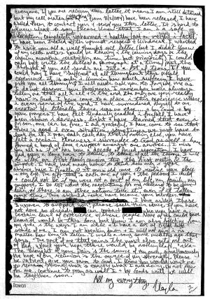 The letter Kayla Mueller wrote to her family from captivity in 2014.