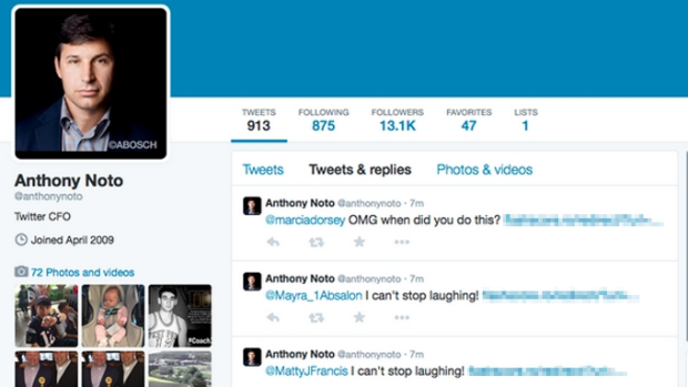 Anthony Noto's account sent out spam links to hundreds of accounts over a 20 minute period.