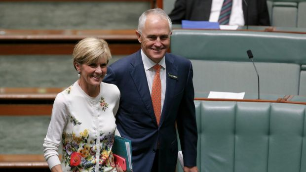 Foreign Minister Julie Bishop and former communication minister Malcolm Turnbull.