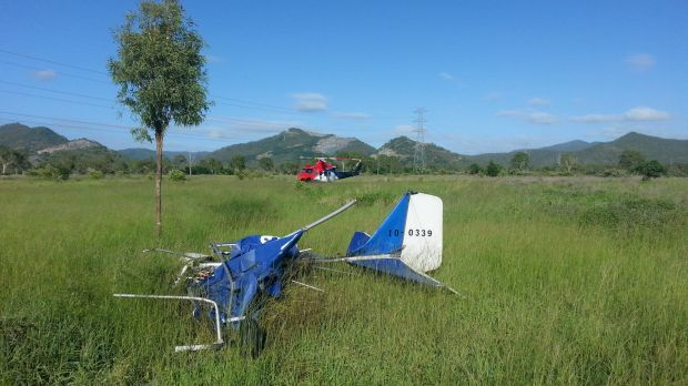 The wreckage of one of the crashed ultralights.