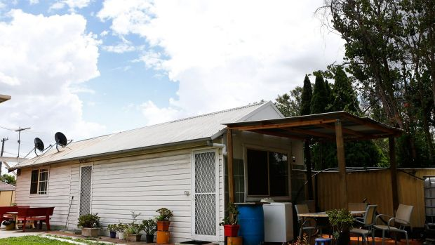 The Fairfield granny flat that was raided by police on Tuesday.