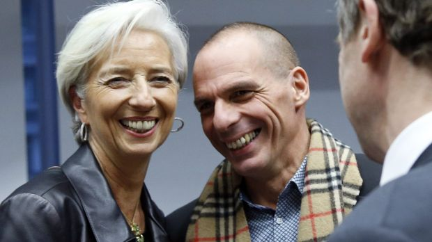 IMF head Christine Lagarde and Greek Finance Minister Yanis Varoufakis during an extraordinary euro zone finance ...
