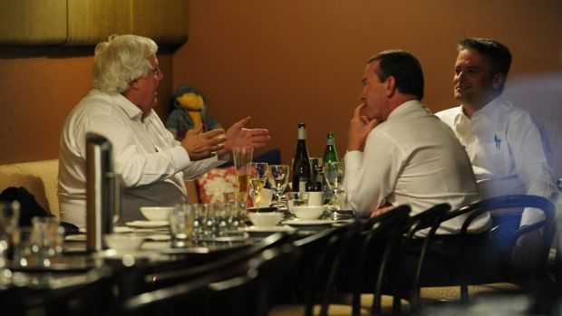 Clive Palmer meets Christopher Pyne and Mathias Cormann for dinner in Canberra.