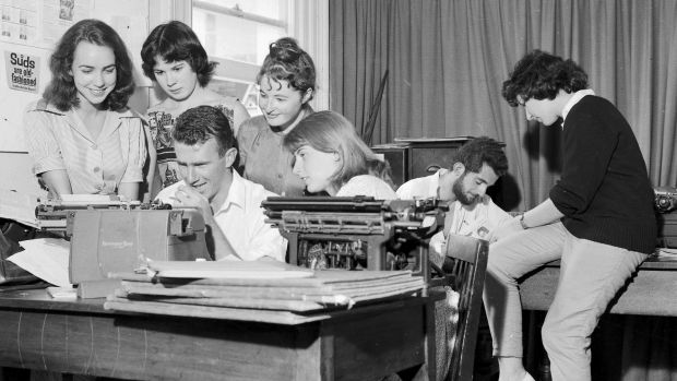Art students at work preparing the Orientation Week issue of Honi Soit at the University of Sydney in February 1960. ...