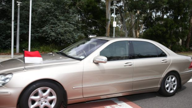 The car of the Indonesian Ambassador to Australia at Parliament House on Thursday.
