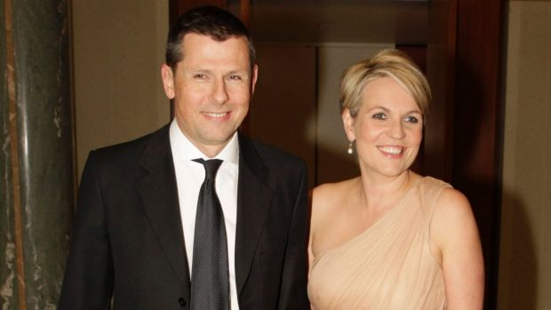 Tanya Plibersek with her husband Michael Coutts-Trotter arrive at the Press Gallery Mid Winter Ball in Parliament House ...