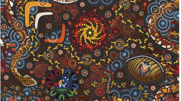 Colourful message: Thapi Wani Watina by Chern'ee Sutton, which will be emblazoned on the jerseys of the Indigenous All Stars.