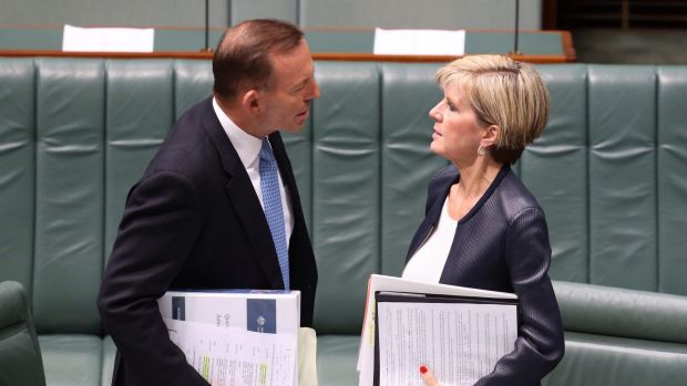 Prime Minister Tony Abbott and Foreign Minister Julie Bishop before Question Time on Thursday.