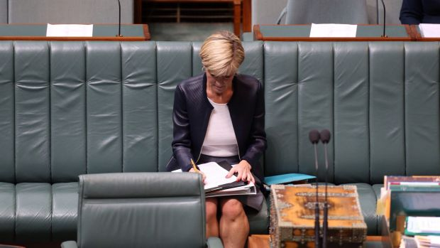 Foreign Minister Julie Bishop before Question Time on Thursday.
