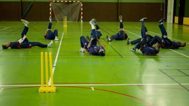 The players have only 90 minutes for training before the area is taken over a handball team.