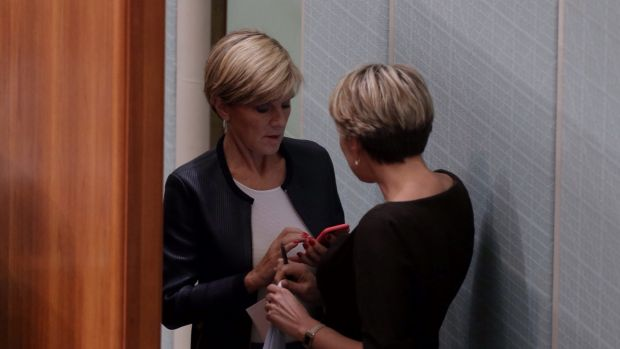 Foreign Affairs Minister Julie Bishop and shadow minister Tanya Plibersek speak behind the Speaker's chair during ...