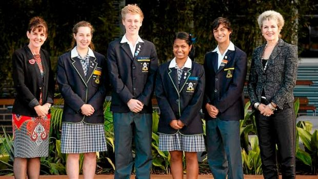 Principal Meg Hansen, right, with head of senior school Louise Mahony and 2014 prefects.