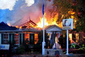 Fire engulfs the Canberra Services Club in Manuka.