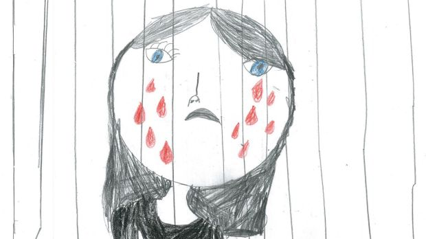 Tears behind bars ... The saddening sketches of children in detention.