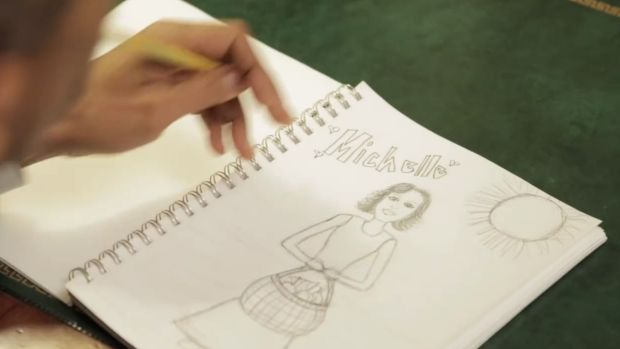 Barack Obama doodles his love in the spoof video.