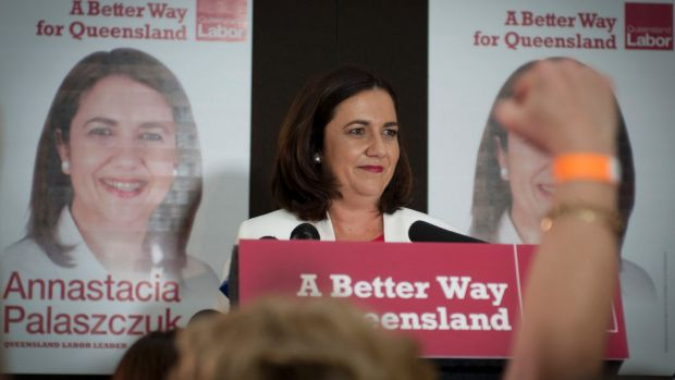 Labor leader Annastacia Palaszczuk on election night.