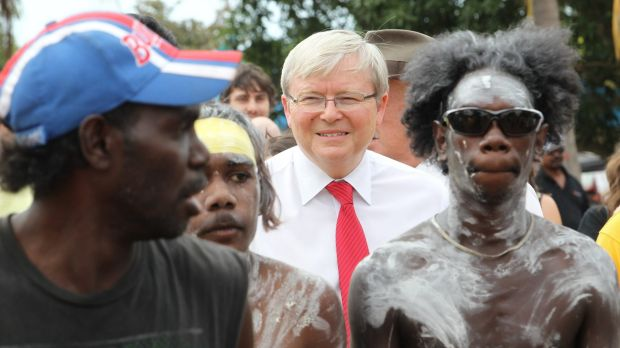 Former prime minister Kevin Rudd with Yirrkala Indigenous leaders.