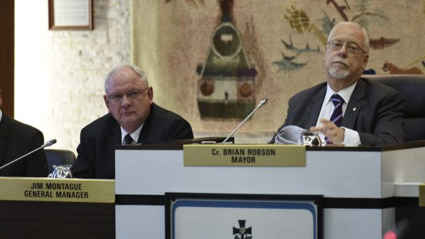Canterbury Mayor Brian Robson at a special Canterbury Council meeting to vote on whether to dump their controversial ...