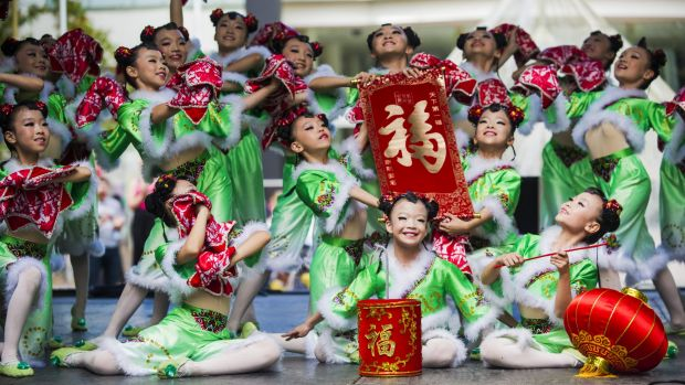 The Golden Sail Dance Company dancers of Beijing at the National Multicultural Festival Friday afternoon.