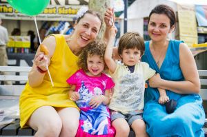 Carmen Jereb of Jerrabomberra with her daughter Maya, 2, and Oana Cozma of the Netherlands with her son Calin, 3, ...