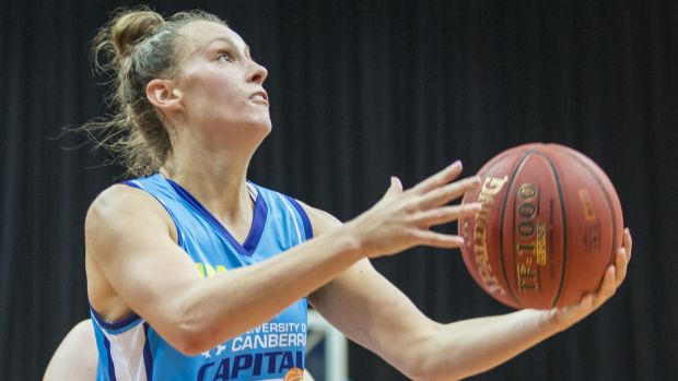 Stephanie Talbot of the Canberra Capitals in action.