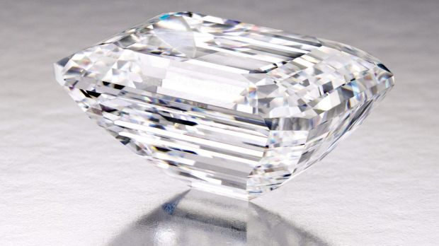 The emerald-cut white diamond York that Sotheby's will auction, expecting to fetch up to $A32 million.