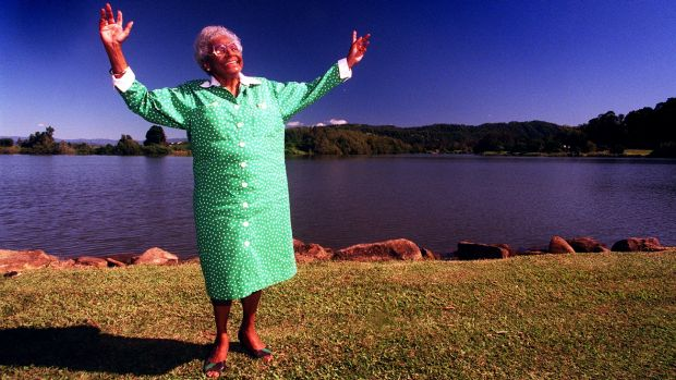 Larger than life: Aboriginal human rights activist Faith Bandler on the banks of the Tweed, near the town of Tumbulgum ...