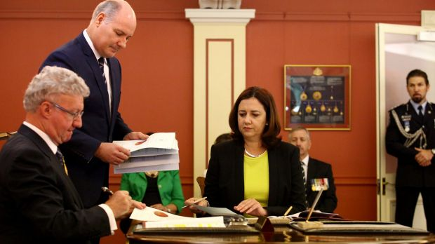 The new Queensland Labor State Premier, Annastacia Palaszczuk, was sworn in by Governor Paul de Jersey at Government ...