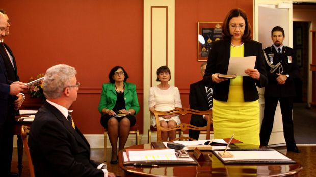 Annastacia Palaszczuk, being sworn in by Governor Paul de Jersey at Government House.