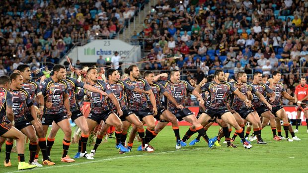 Star-studded: Greg Inglis leads the Indigenous war dance before a reasonable crowd prior to the All stars clash on the ...