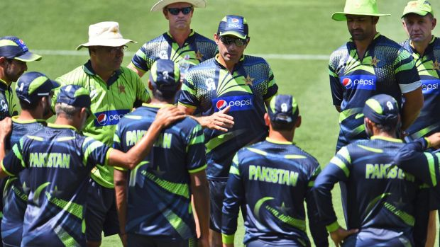 Pakistan captain Misbah-ul-Haq speaks to his teammates during their final training session before the World Cup.