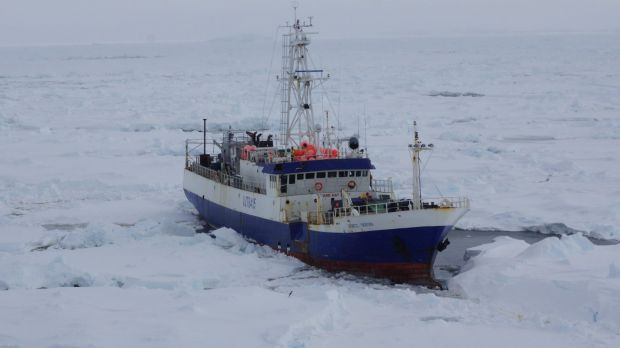 Australian fishing vessel the Antarctic Chieftain is seen from the the Coast Guard Cutter Polar Star as the cutter ...