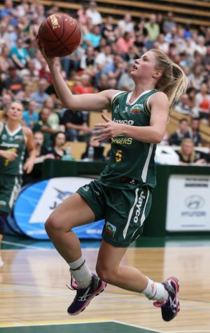 On guard: Aimee Clydesdale in action at Dandenong Stadium.