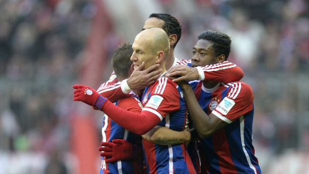 Arjen Robben (centre) was one of three Bayern players to score twice.