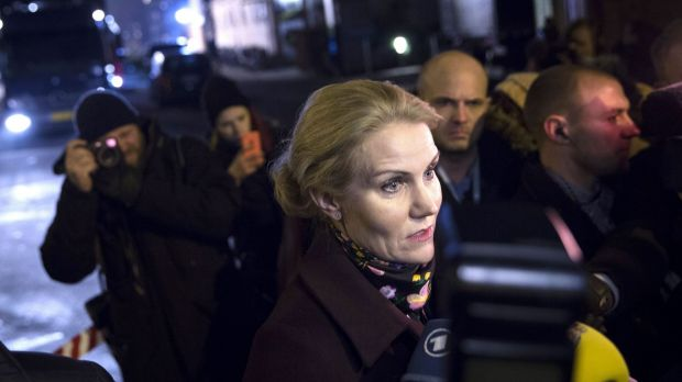 'Deep anger': Danish Prime Minister Helle Thorning-Schmidt at the scene of the first attack on Saturday night.